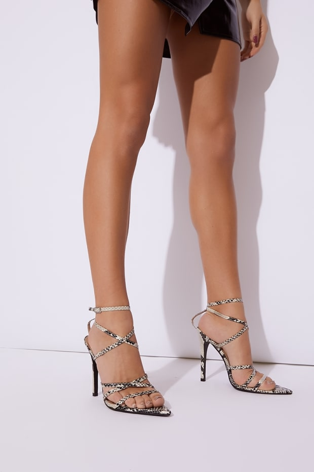 1a7938fb080 Livvie Brown Snake Print Strappy Pointed Sole Heels