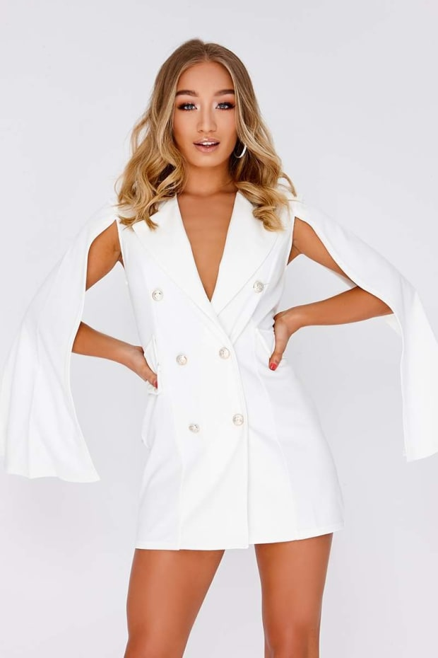 CAILLA CREAM SPLIT SLEEVE BLAZER DRESS