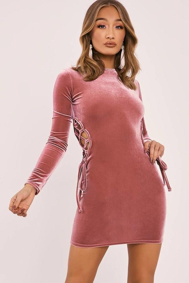 FLOR ROSE PINK VELVET LACE UP MINI DRESS