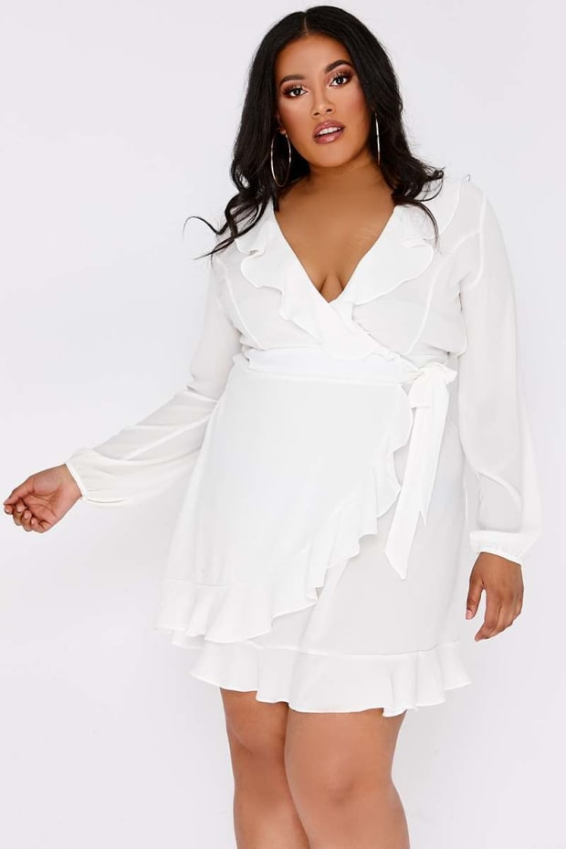 CURVE ARISSIA WHITE FRILL WRAP MINI DRESS