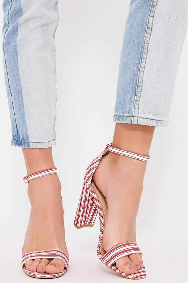 SELMA RED STRIPED BARELY THERE HEELS