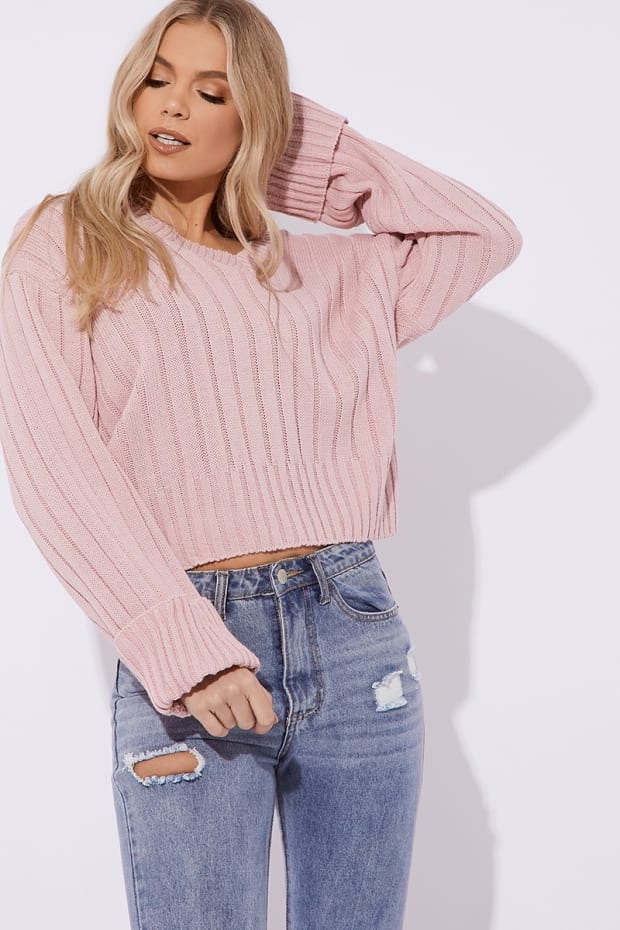 ADIRA BLUSH V NECK OVERSIZED RIBBED JUMPER