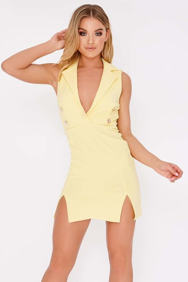 DOLY YELLOW SLEEVELESS BLAZER DRESS