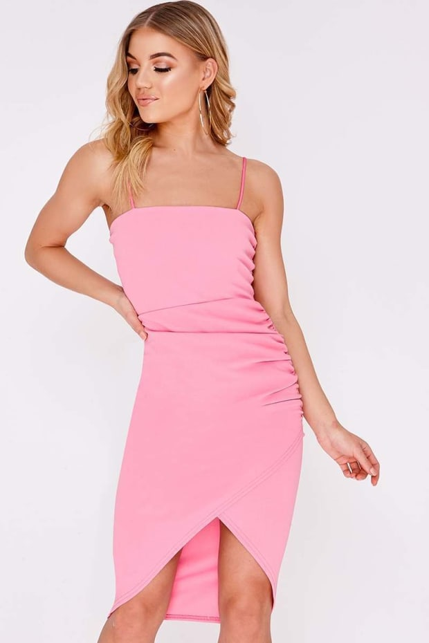 DIANNE PINK RUCHED SIDE MIDI WRAP DRESS