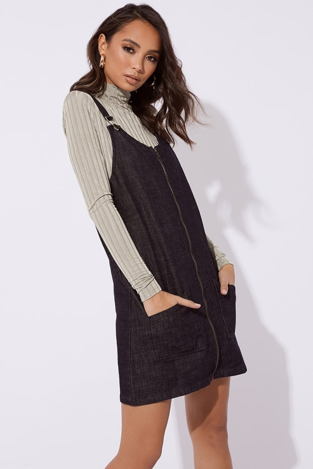 MAKLYA BLACK DENIM ZIP THROUGH PINAFORE DRESS