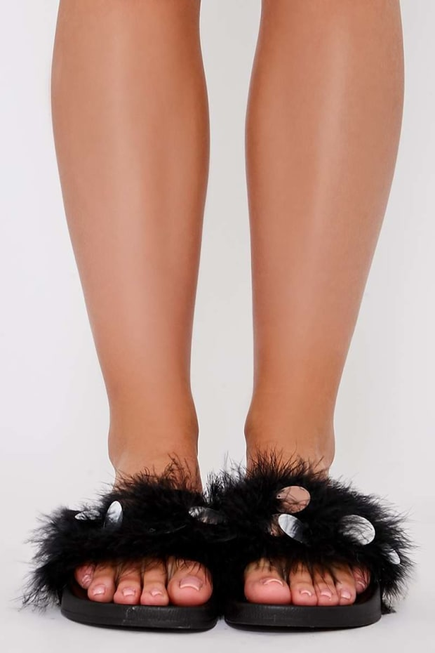 KARINNA BLACK EXTREME FLUFFY SEQUIN SLIDERS