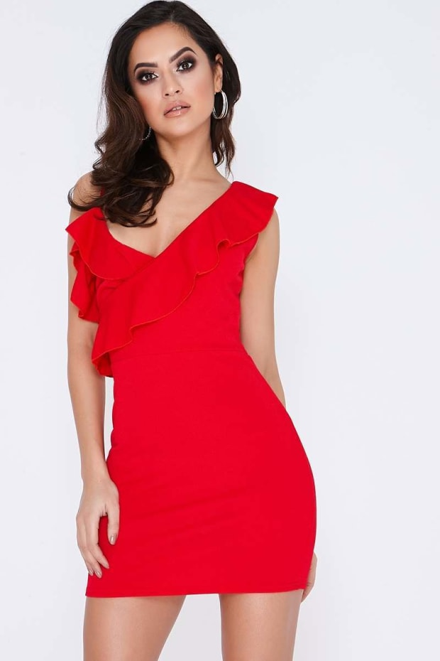 CALIN RED ASYMMETRIC FRILL MINI DRESS