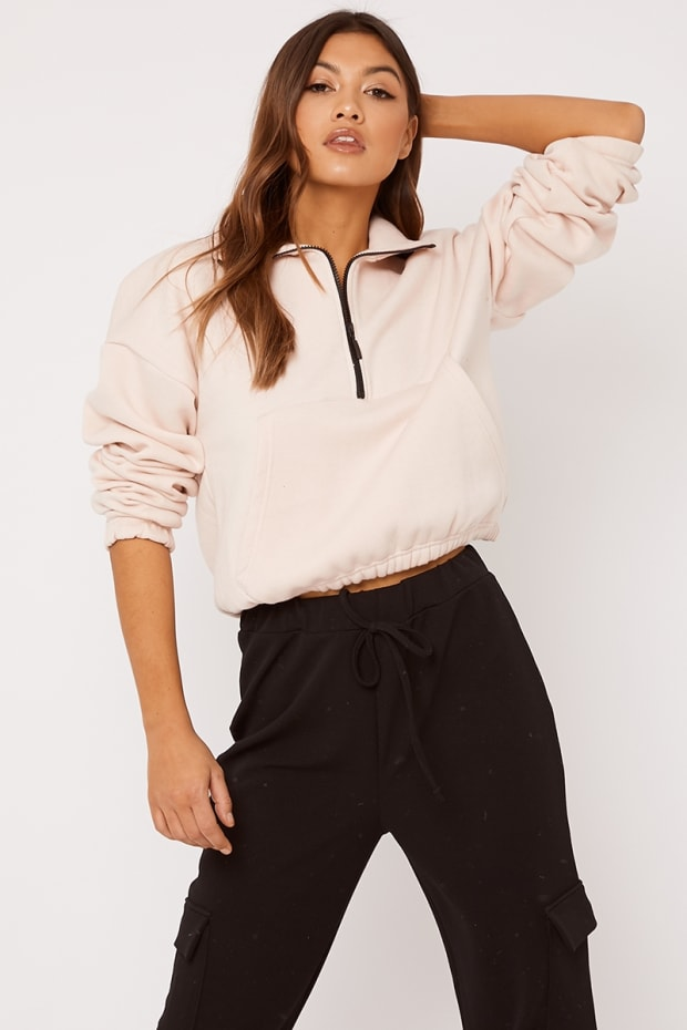 MAIDAH BLUSH HIGH NECK ZIP DETAIL SWEAT