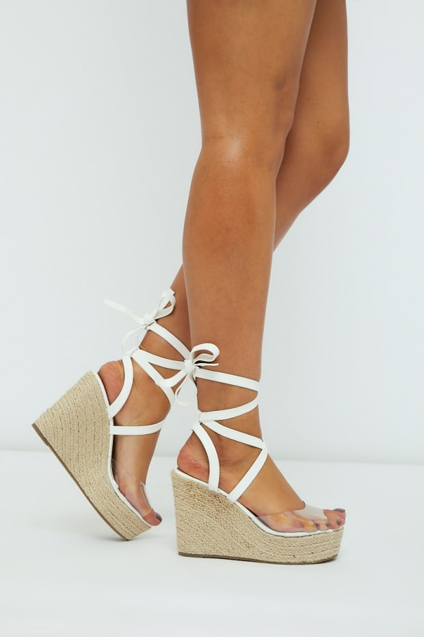 KELLINA WHITE CLEAR STRAP MULTI TIE WEDGES