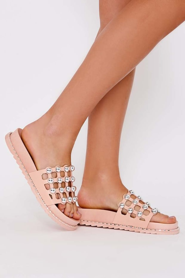 LANEI PINK FAUX LEATHER ROUND STUD SLIDERS