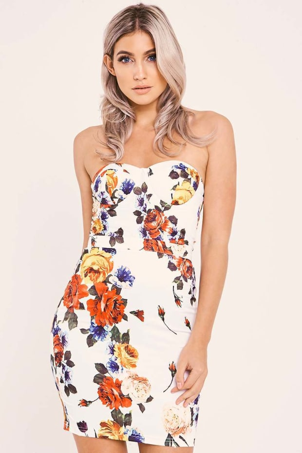 ADAIR WHITE FLORAL BANDEAU BODYCON DRESS