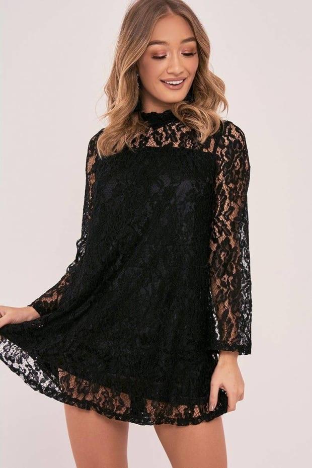 ARISSA BLACK FLORAL LACE MINI DRESS