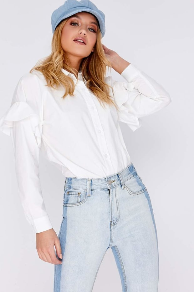 MAKAYLA WHITE FRILL DETAIL SHIRT