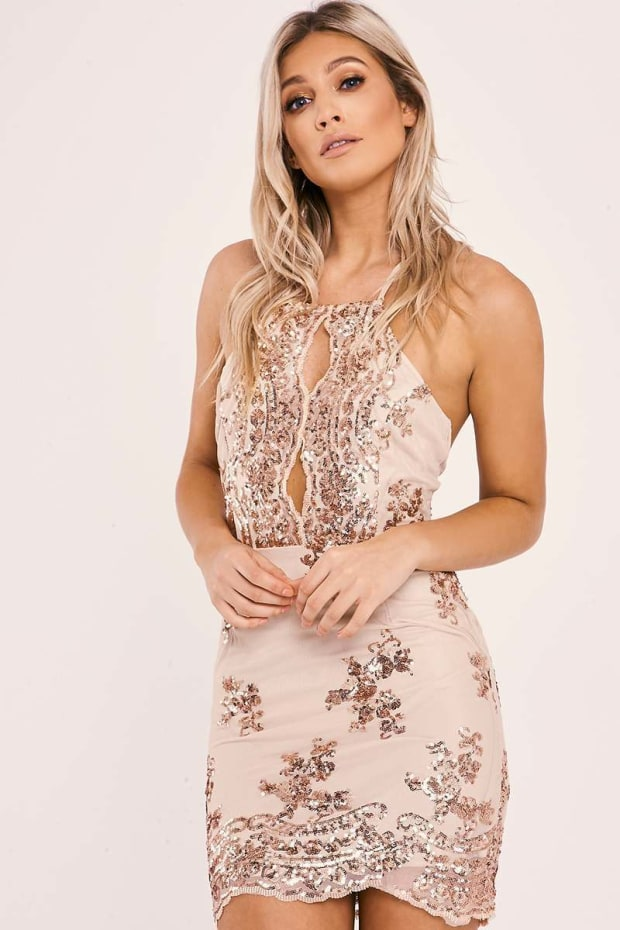 d7b634ca08da Baila Rose Gold Floral Sequin Halterneck Mesh Mini Dress