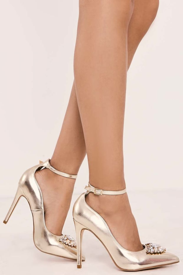 TAYLYN GOLD JEWEL TRIM STRAPPY COURT HEELS