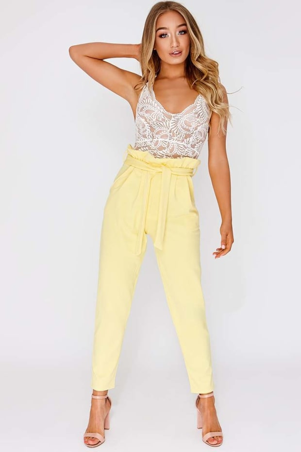 CODIA YELLOW PAPERBAG SKINNY TROUSERS