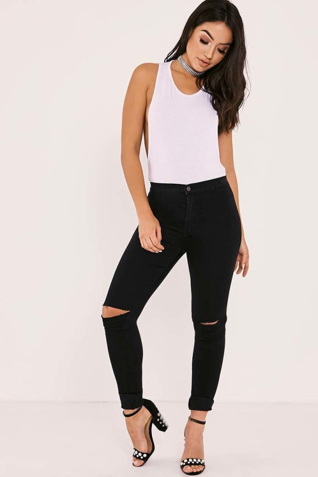 LORY BLACK SUPER HIGH WAISTED RIPPED KNEE SKINNY JEANS