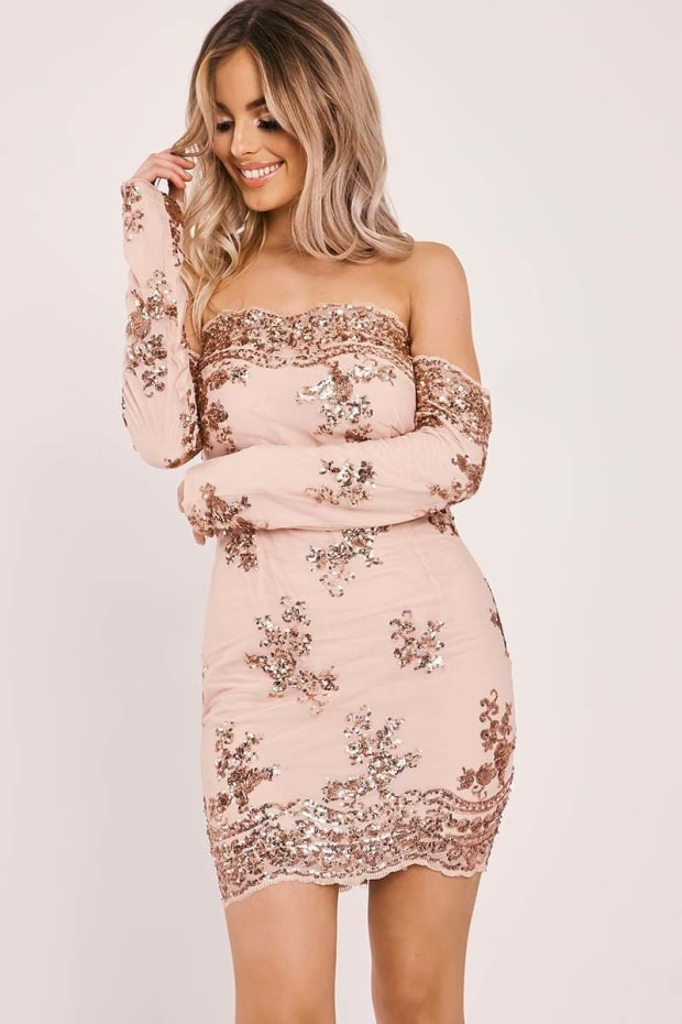 DEBS ROSE GOLD FLORAL SEQUIN BARDOT DRESS