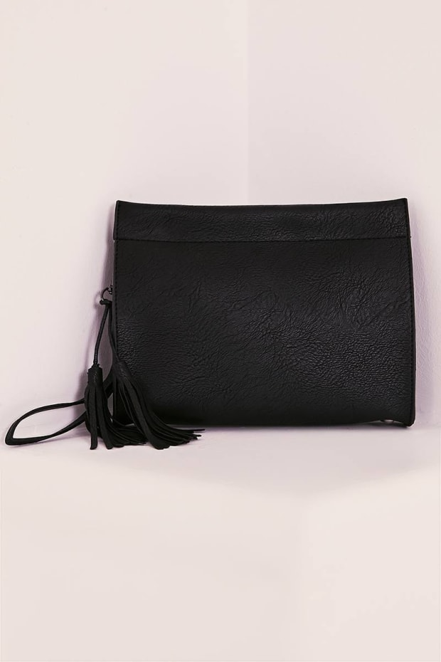BLACK FAUX LEATHER BOXY CLUTCH BAG