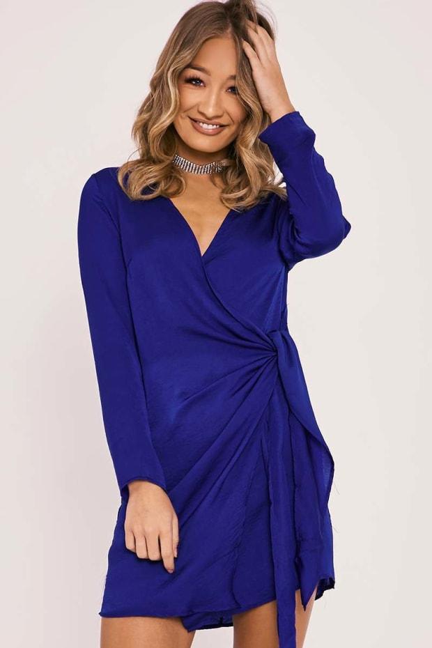 BINA BLUE SILKY WRAP SHIRT DRESS