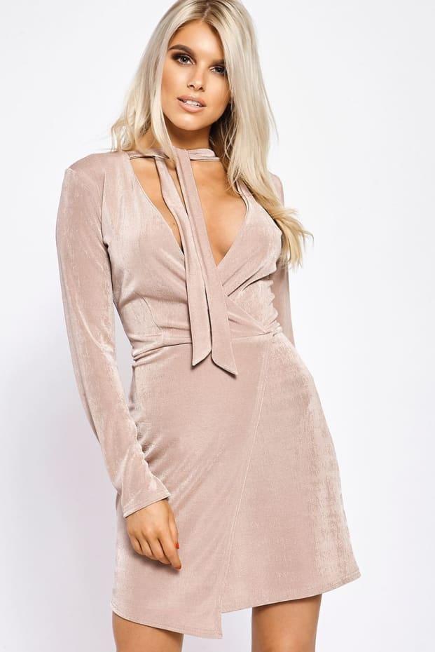 TIFFNEY BLUSH WRAP FRONT SLINKY DRESS