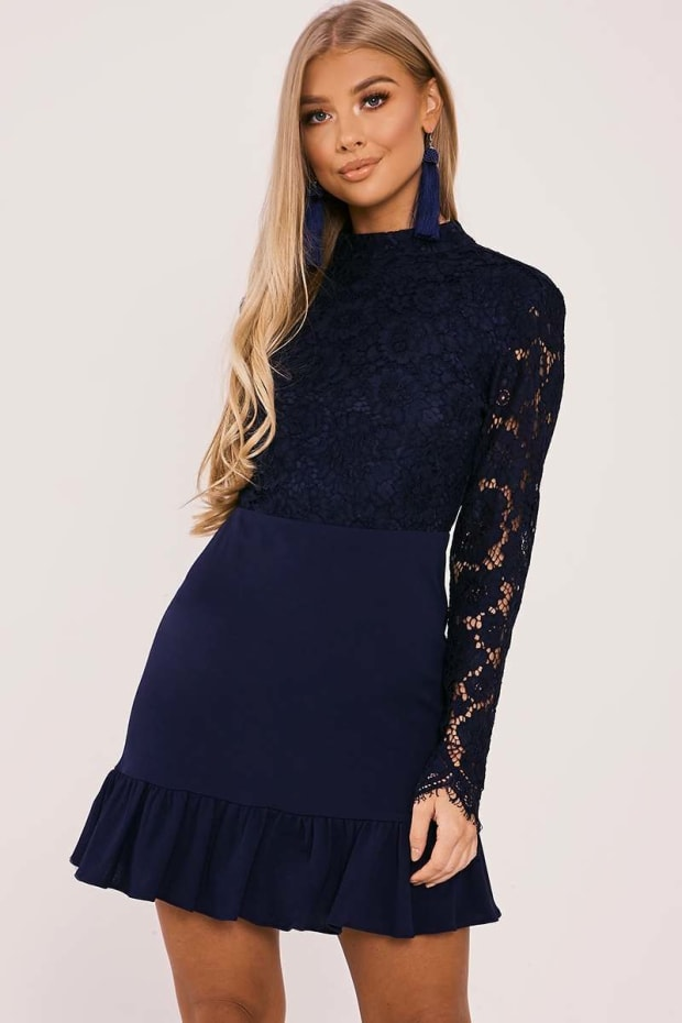 BILLIE FAIERS NAVY LACE TOP PEPHEM DRESS