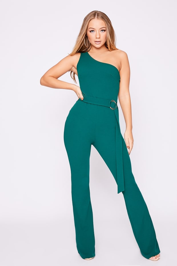 ead51cd42364d Billie Faiers Green One Shoulder Ring Detail Palazzo Jumpsuit