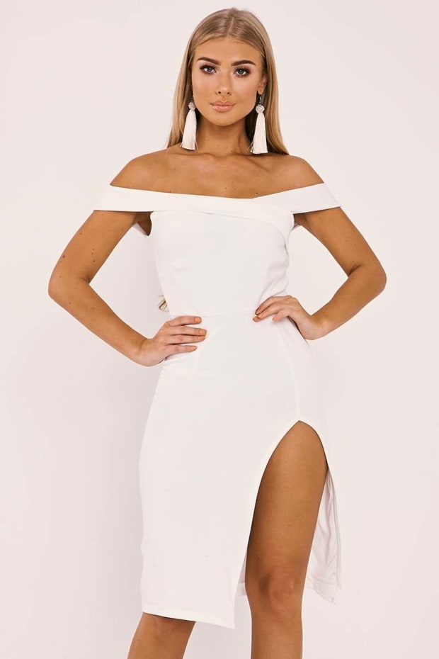 BILLIE FAIERS WHITE BARDOT WRAP FRONT SIDE SPLIT MIDI DRESS