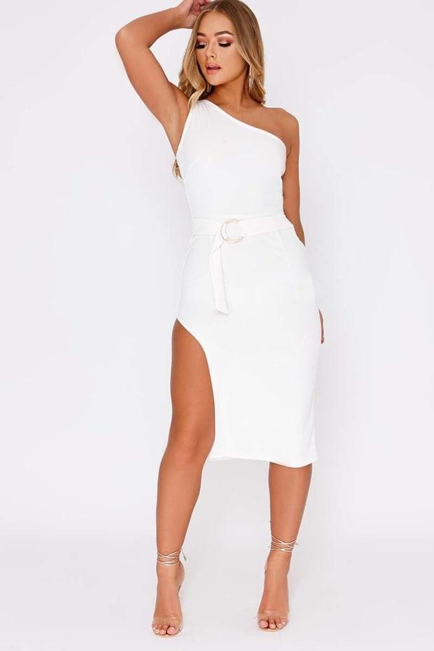22a3d54723e0 Billie Faiers White One Shoulder Side Split Midi Dress