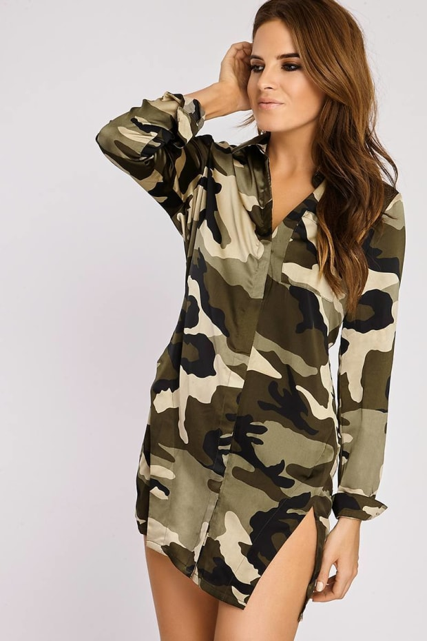 BINKY CAMO PRINT SATIN SPLIT FRONT SHIRT DRESS