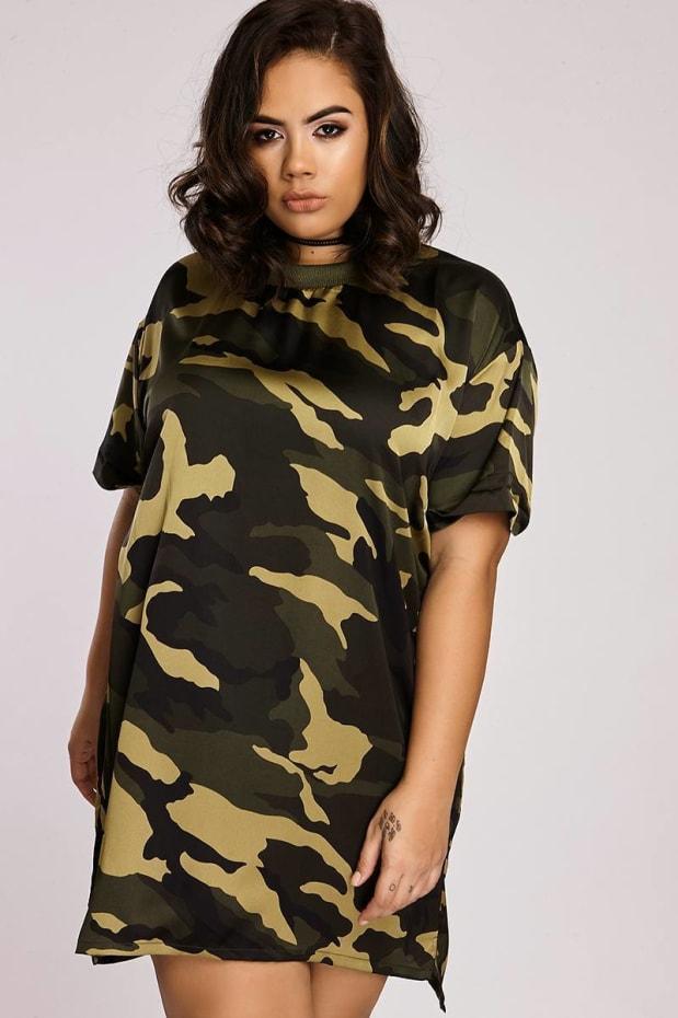 Curve Binky Camo Print Oversized Tee Dress