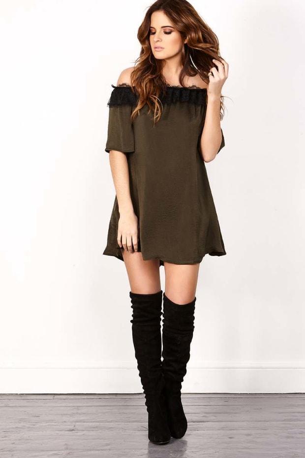 BINKY KHAKI SILKY LACE DETAIL BARDOT DRESS