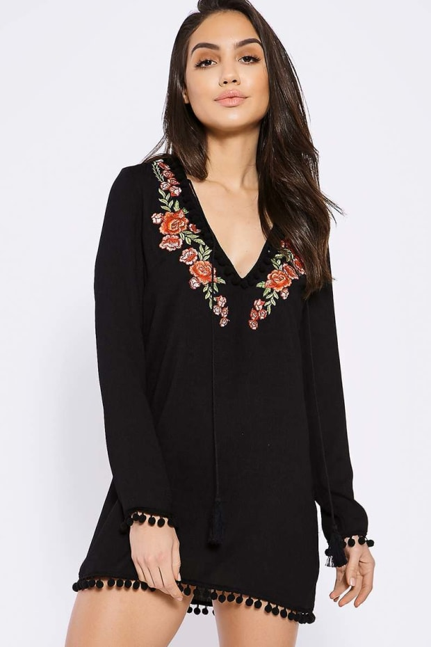BINKY BLACK POM POM TRIM EMBROIDERED BEACH COVER UP