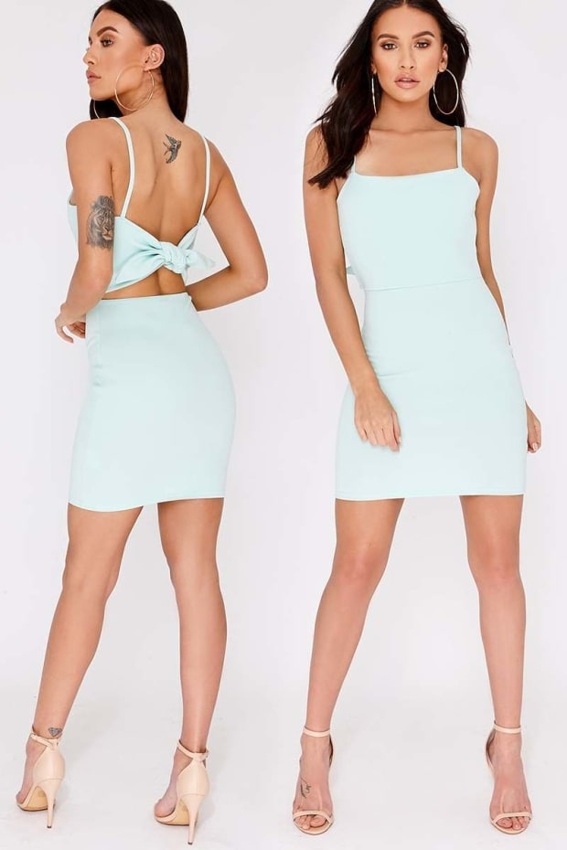 CHARLOTTE CROSBY MINT TIE BACK SQUARE NECK MINI DRESS