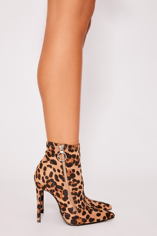 KHRISHE BROWN LEOPARD PRINT FAUX SUEDE HEELED SOCK BOOTS