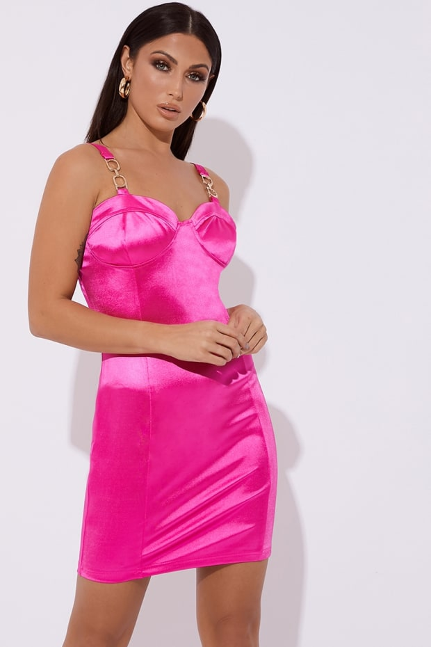NADINE PINK SATIN BUSTIER BUCKLE MINI DRESS