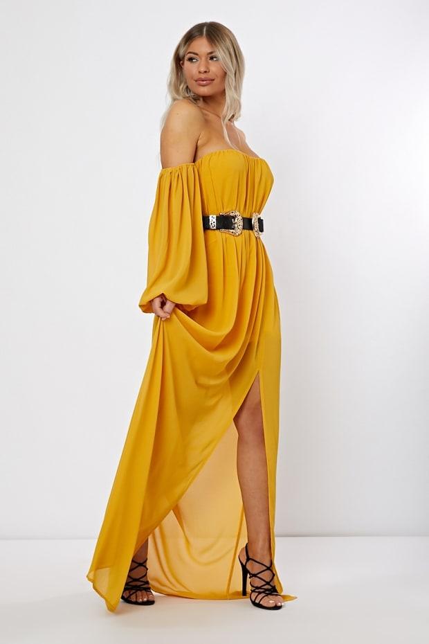Nabelah Mustard Bardot Western Belted Split Front Maxi Dress  3c667f11c