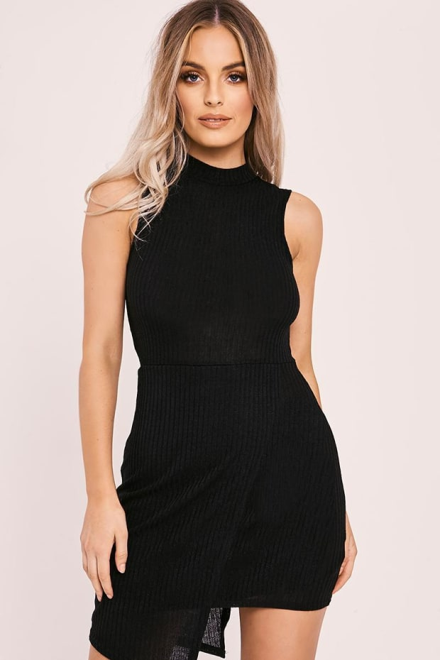 HALLY BLACK RIB KNIT ASYMMETRIC HEM MINI DRESS