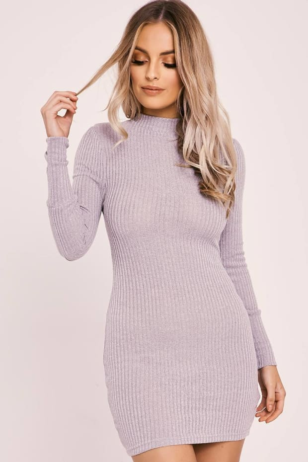 AINSLEY GREY RIB KNIT HIGH NECK BODYCON DRESS