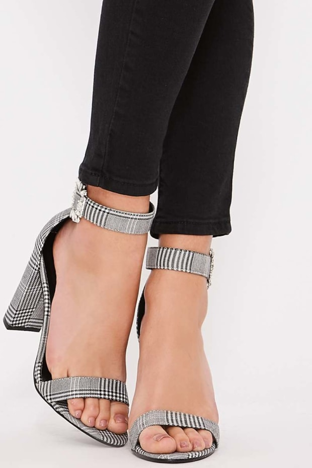 VIRGIE BLACK AND WHITE CHECK BARELY THERE HEELS