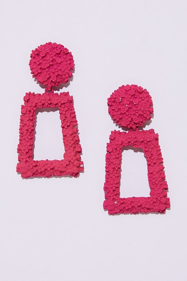 PINK SQUARE DROP EARRINGS