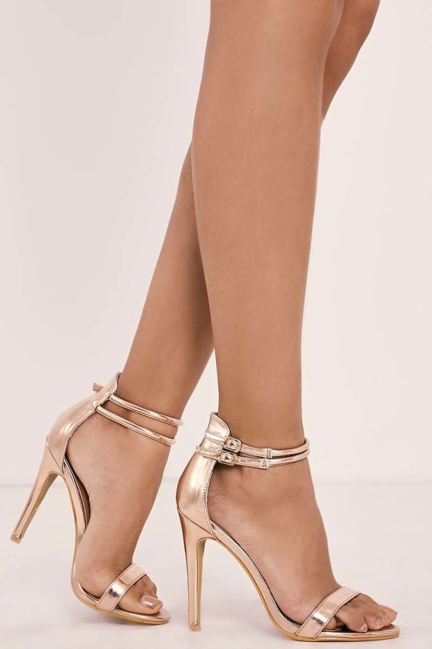 RUBEKA ROSE GOLD METALLIC STRAPPY BARELY THERE HEELS