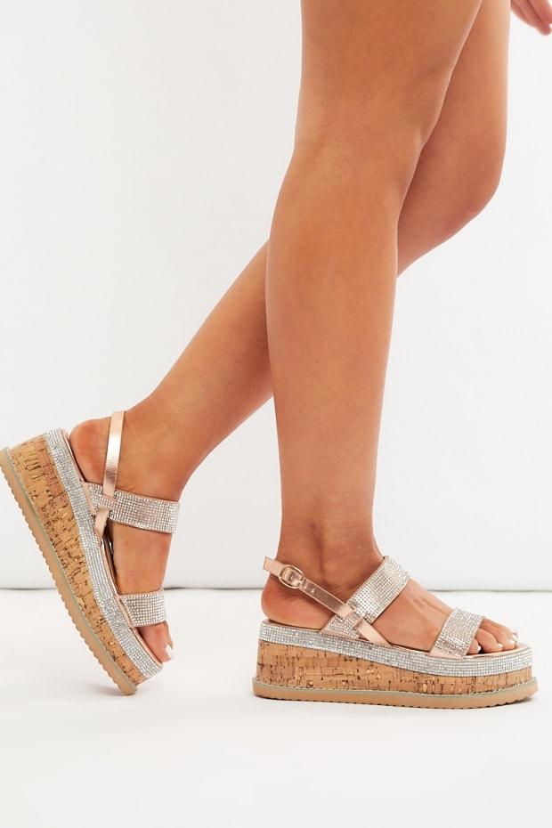789c6c86a93 Jisinah Rose Gold Diamante Platform Sandals