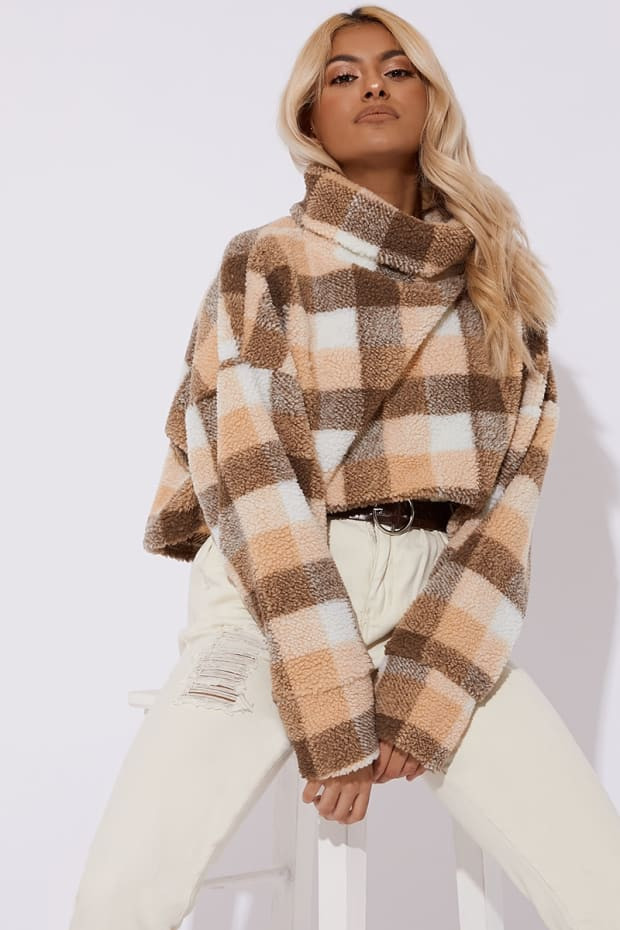 Tilly Brown Check Teddy Fur High Neck Cropped Jumper by In The Style