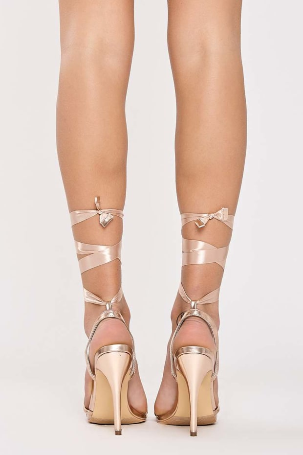 6a540a3877a7 FONTEYN ROSE GOLD PU RIBBON TIE HEELS. Previous