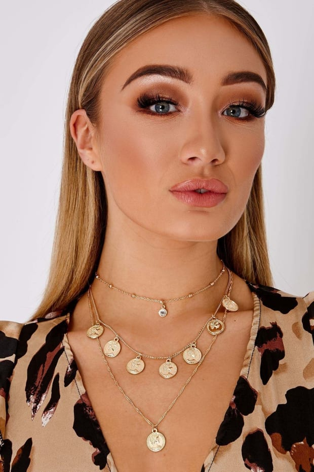 GOLD LONG LAYER CHOKER COIN NECKLACE