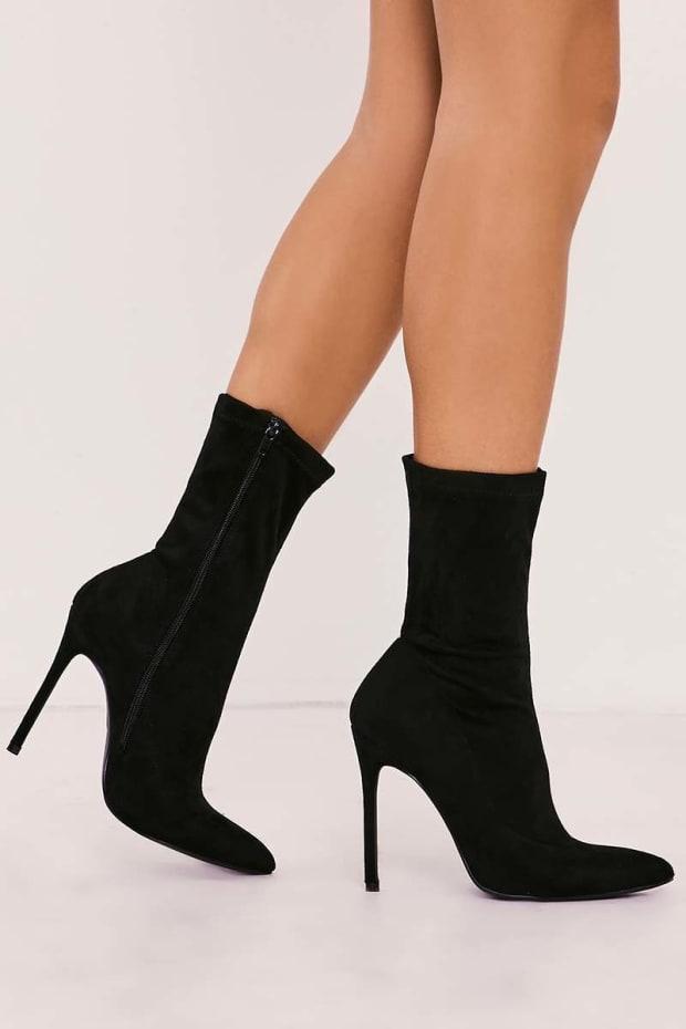 RAELEE BLACK FAUX SUEDE SOCK HEELED BOOTS
