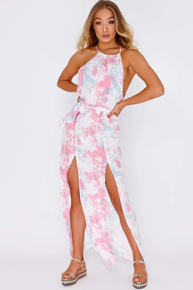 DARLY PINK TIE DYE TIE WAIST MAXI DRESS
