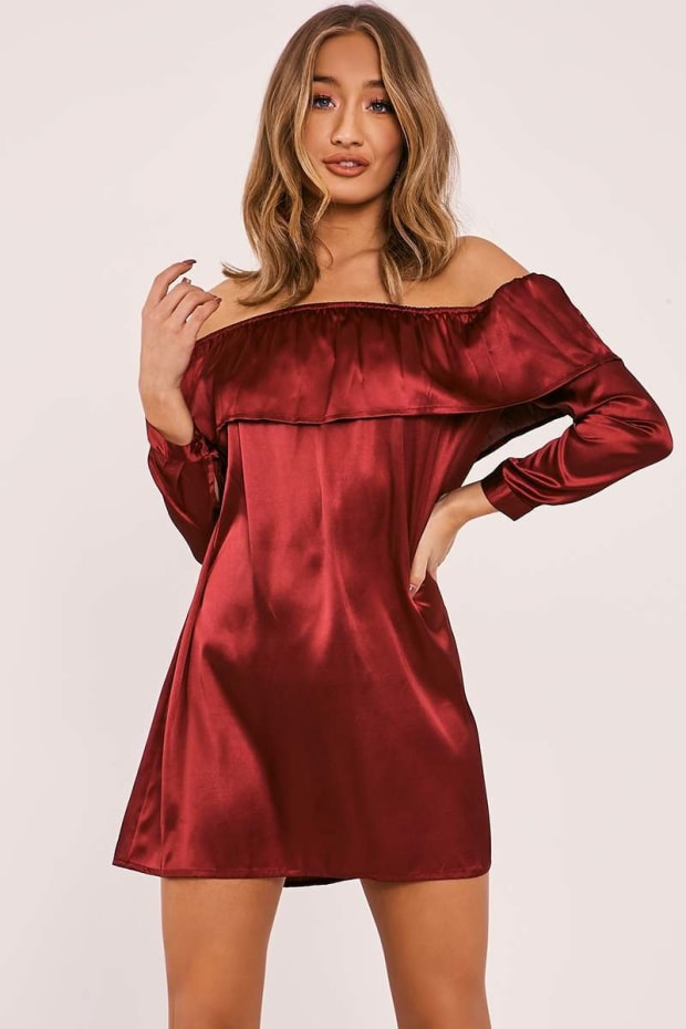 AZRA BURGUNDY SATIN BARDOT FRILL DRESS
