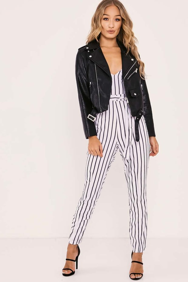 6561797a996e SHANEIKA WHITE STRIPED PLUNGE BELTED JUMPSUIT. Previous